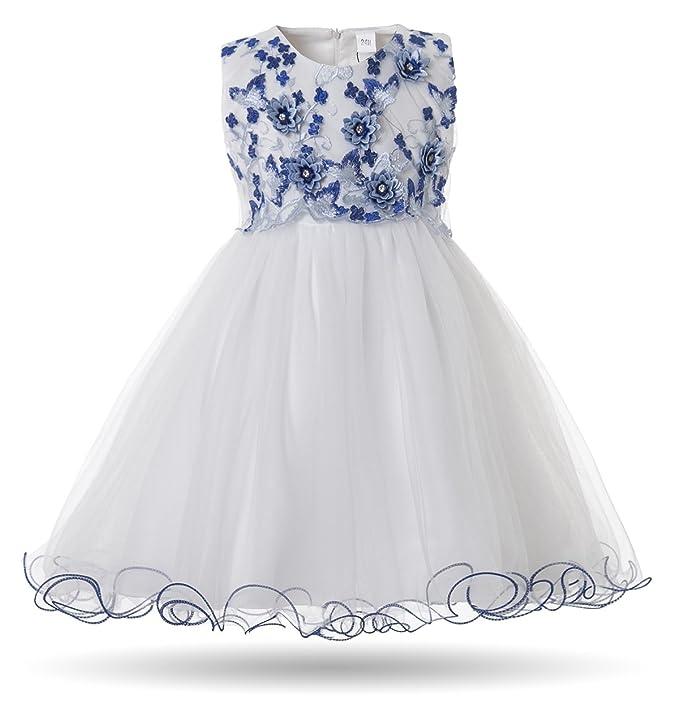 3e0f81f17b219 Amazon.com: CIELARKO Baby Girl Dress Infant Flower Lace Wedding Party  Dresses for 0-24 Months ...: Clothing