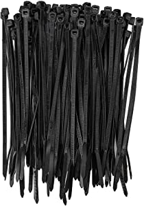 200 Pack KOOWIN 4 Inch 18 Lbs Self-Locking Eco-Friendly Nylon Cable Zip Ties, Heavy Duty Wire Tie Wraps, Premium Plastic Wire Ties for Home, Office, Garden, Garage, Workshop (X-Small Black 200pcs)
