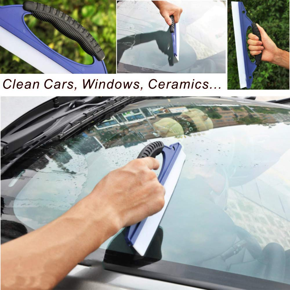 Oneuda Car Cleaning Tools Kit Wash Cloth Wash Sponge Window Water Scraper Duster Brush Car Vent Brush Car Wash Mitt Tire Brush 10pcs Exterior and Interior Cleaning Kits with Bucket
