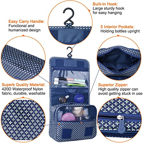 Heavy Duty Waterproof Hanging Toiletry Bag - Travel Cosmetic Makeup Organizer Bag for Women Girls Children Multifunction Travel Kit by Hokeeper (Image #4)