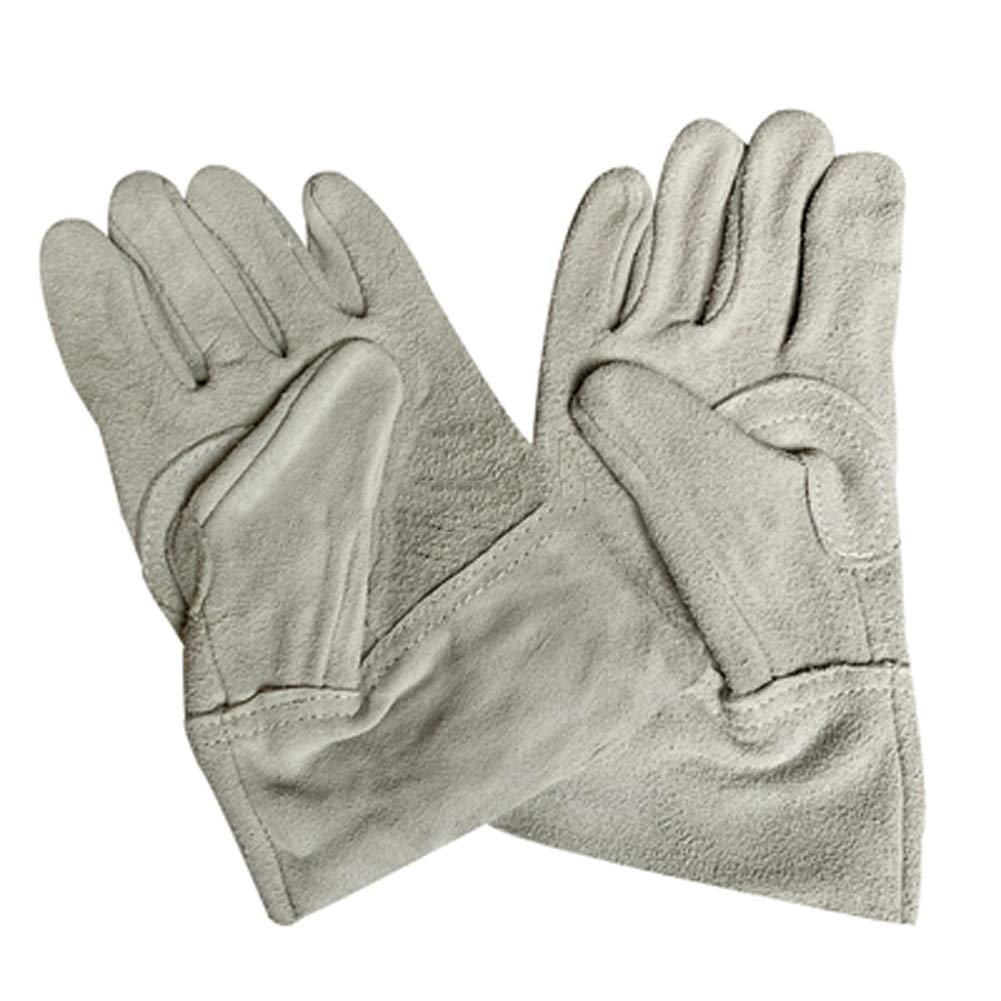 YSNBM Gloves Men's Leather Welding Gloves, Long Welder Gloves with Thicken Cotton Lined, Extreme Heat Resistant Work Tool Gloves/Gray/9.5x5inches Gas Station,Dry Ice,Cold Storage,Industrial Glove
