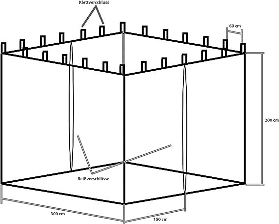 INSTENT® Mosquitera para cenador de 3x3 12 m. Selección de Color ...