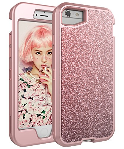 FOOXII iPhone 8 Case iPhone 6/6s Case iPhone 7 Case Glitter Bling Shiny Cute Girls Case Three Layer Heavy Duty Hybrid Sturdy Plastic Protective Case for Apple iPhone6/6s iPhone 7 / iPhone 8,Rose Gold