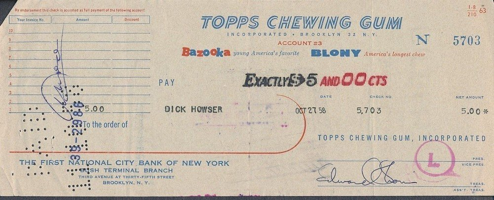 Autographed Topps Chewing Gum Processed Check To Dick Howser Signed Edward Shorin *5703