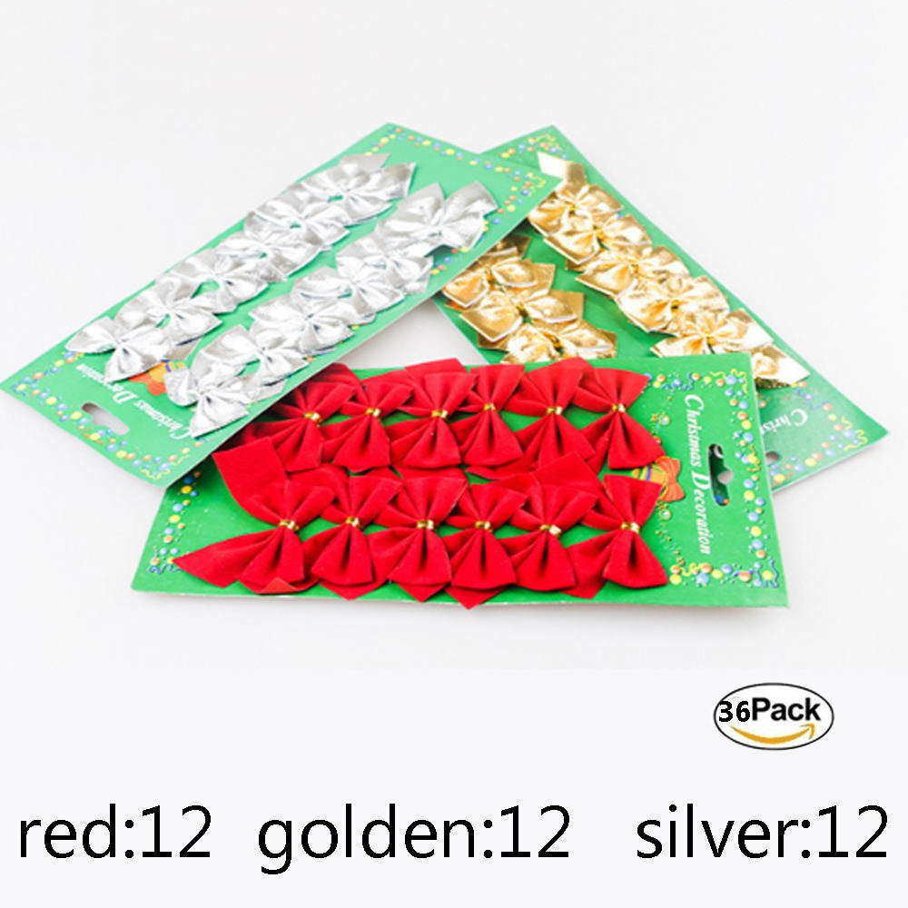 36 Pcs Christmas Ribbon Bows Decorations 2 x2.4 inches Christmas tree Bows Xmas Ornament ,Wedding Festival Party Decor Bow (3color, Red, Gold, Silver)