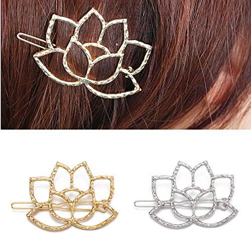 QTMY 4 PCS Metal lotus Flower Hairpin Hair Clips Hair Accessories (Brooch Leaf Tone Silver Pin)