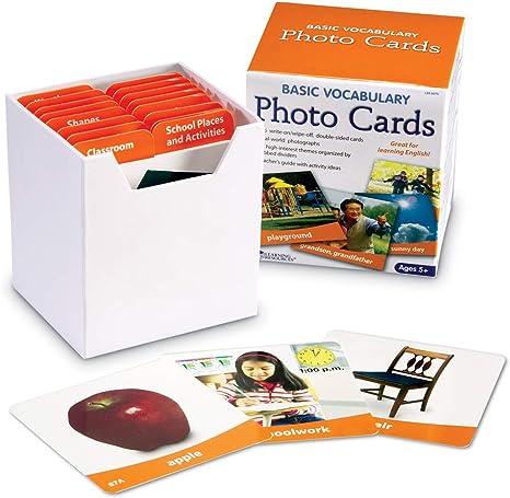 Learning Resources Ltd- Tarjetas fotográficas con Vocabulario básico, Color (LER6079): Learning Resources Basic Vocabulary Photo Card Set: Amazon.es: Juguetes y juegos
