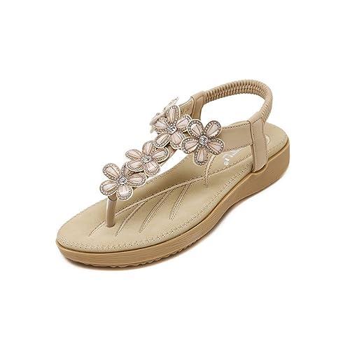 da29042c76ac Jazlyn Women s Bohemian Bling Gemstone Beads Rubber Thong Flip Flop  Platform Sandals (UK2.5
