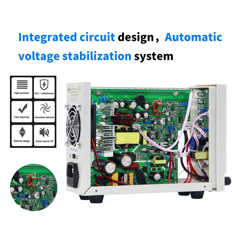 DC Power Supply Variable 30V 10A, (Precision 00.01V,00.01A)4-Digital LED Display, Precision Adjustable Regulated Switching Power Supply Digital with Alligator Leads US Power Cord by LONGWEI (Image #5)