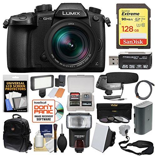 Panasonic Lumix DC-GH5 Wi-Fi 4K Digital Camera & 12-60mm f/2.8-4.0 Lens with 128GB Card + Backpack + Flash + Video Light + Battery + 3 Filters (Slr Panasonic Lumix Cameras)
