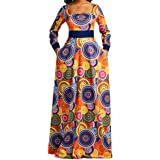 VERWIN Square Neck Print Long Sleeve High Waist Geometric Evening Dress Color Block Wrap Maxi Dress