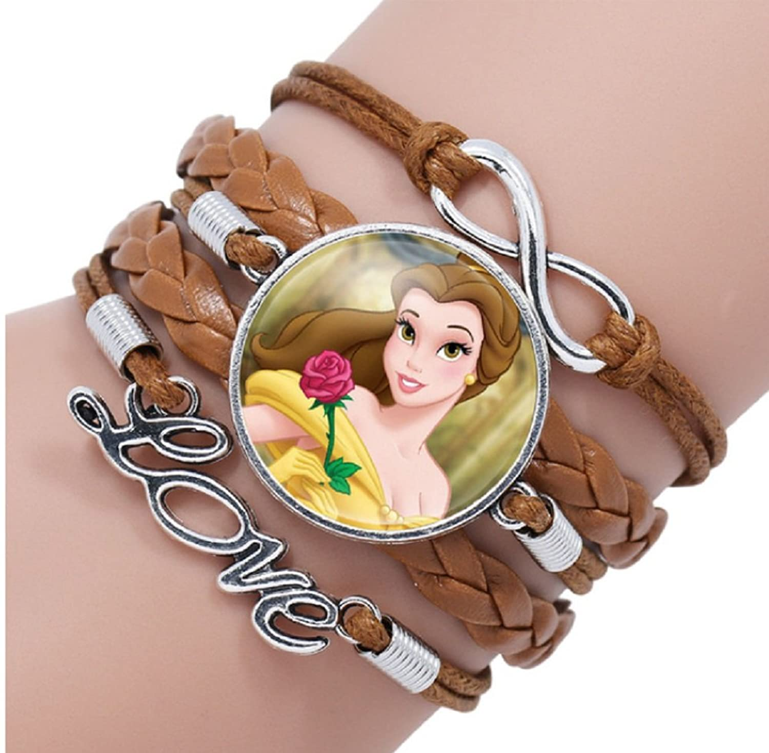 Disney's Princess Belle Glass Domed Love Logo Braided Leather Bracelet