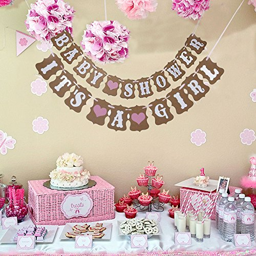 - 2 In 1 Pink Baby Shower And It's A Girl Heart Garland Bunting Banner. Vintage Rustic Party Decorations, Kraft Paper Photo Props. Party Favorite. By Premium Disposables.