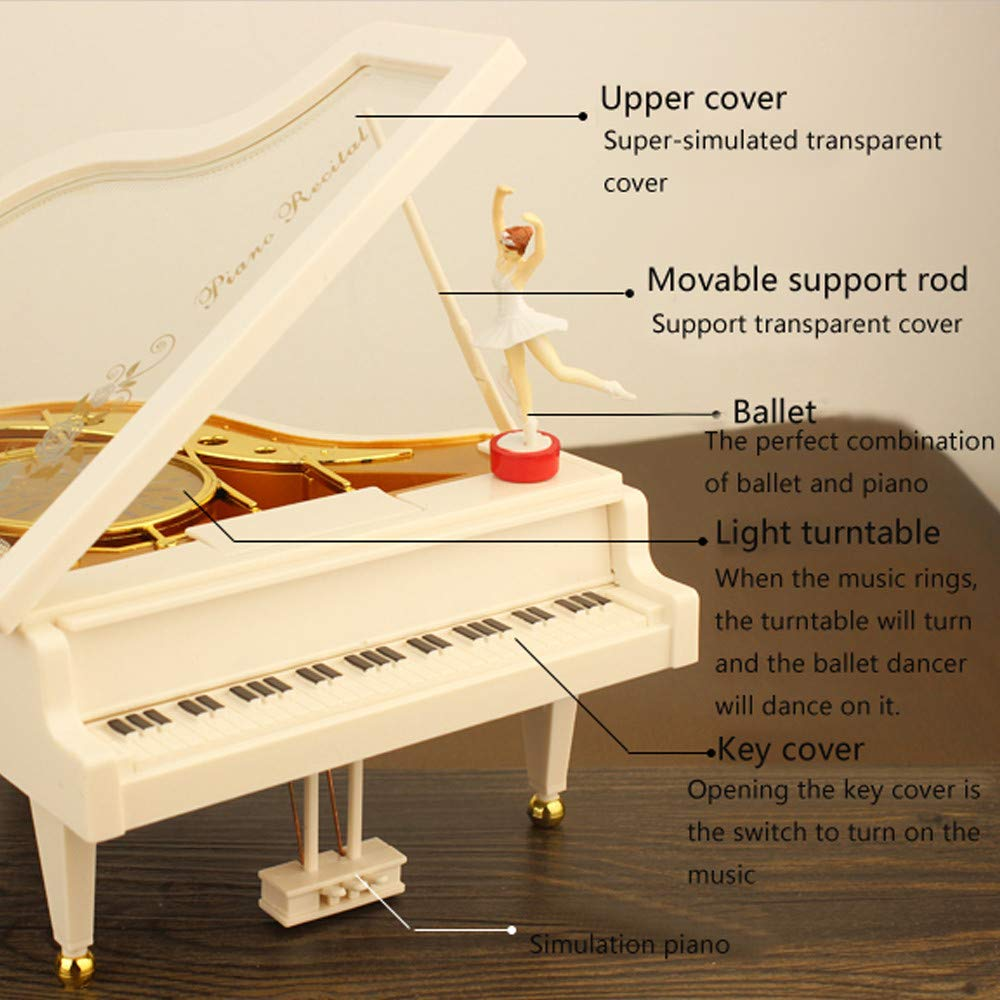 White Auvem Piano Music Box Vintage Baller Dancer Piano Shape Music Box Home Room Decoration Kids Gift Musical Instrument for Christmas//Birthday//Valentines Day
