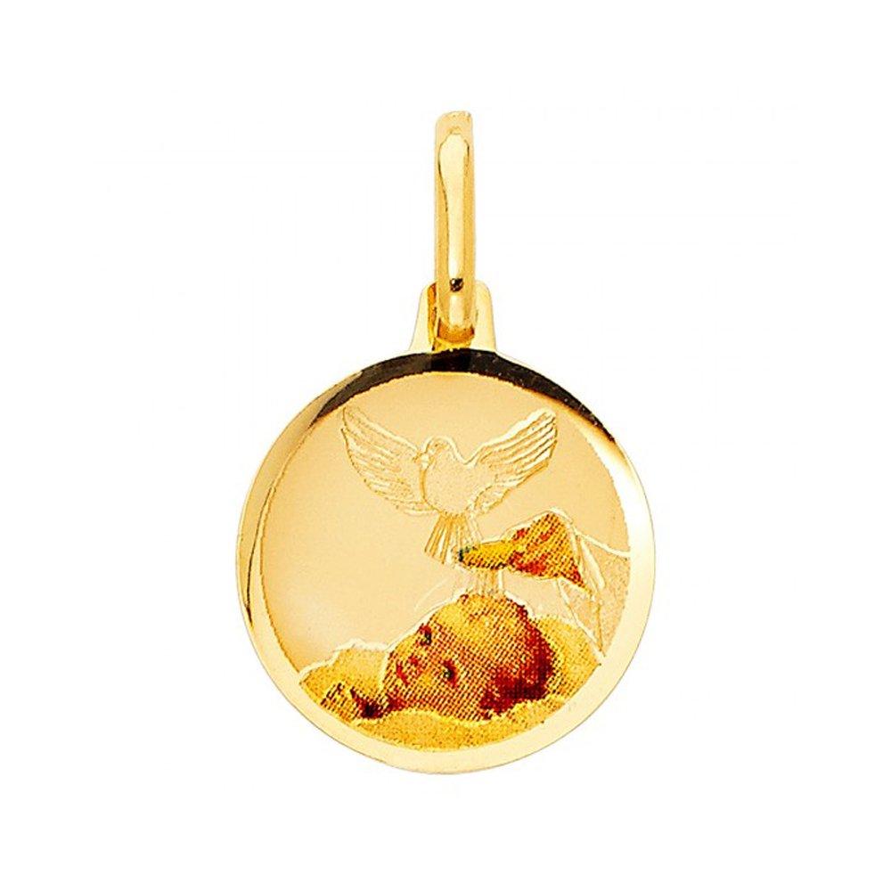 14k Yellow Gold Babys Baptism Engrave Flat Round Pendant