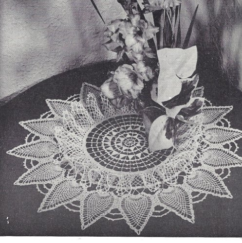 Vintage Crochet PATTERN to make - Ruffled Pineapple Spears Doily Centerpiece Mat. NOT a finished item. This is a pattern and/or instructions to make the item only.