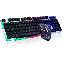 LISJFS GTX300 Rainbow Color LED Backlit Large Size USB Wired Mechanical Feeling Multimedia Gaming Keyboard with Wireless Mouse (Black)