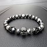 paweena Charm Men CZ Skull Crown India Labradorite Stone Beads Bracelet Handmade Jewelry