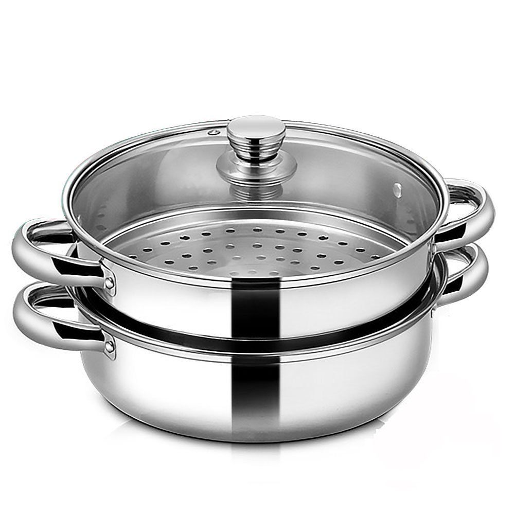 Vencer Steamer Saucepot Set Double Layers Stainless Steel Stack with Tempered Glass Lid,VSO-006