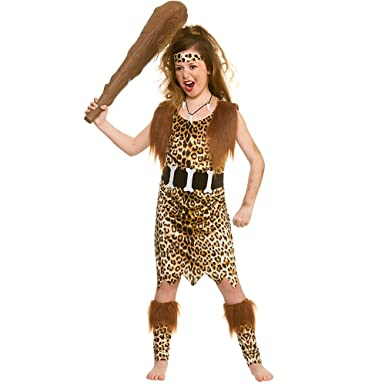 ebad0906f00a Wicked Costumes Girls Kids Stone Age Cave Girl Historical Large Brown, 8-10  years