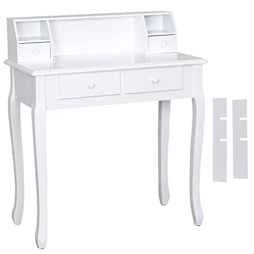 SONGMICS Wall-Fixed white Dressing Table for Office Desk Writing Table Makeup Vanity Dresser RDT80W