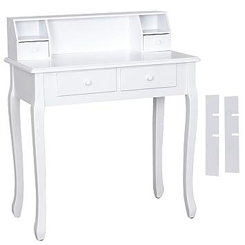 Songmics coiffeuse blanc table de maquillage en bois avec 4 tiroirs ...
