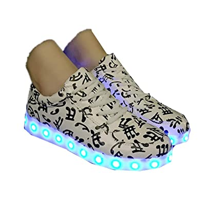 64c91732466 Amazon.com | Zarachielly Led Light Up Shoes for Mens Womens High Top  Flashing Rechargeable Sneakers | Fashion Sneakers