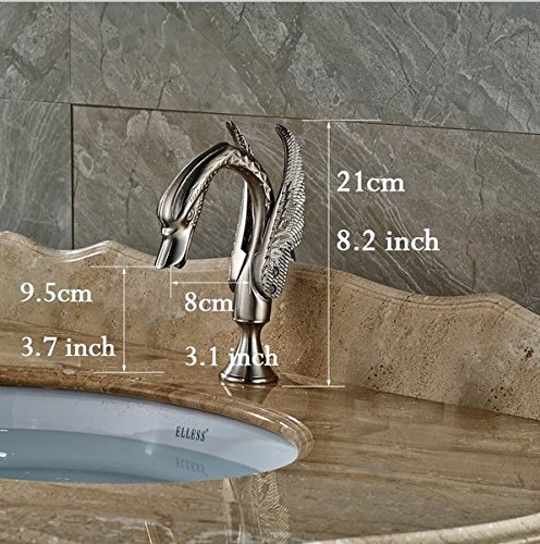 GOWE Widespread Basin Mixer Taps Deck Mount Swan Style Bathroom Sink Faucet with Dual Handle 1