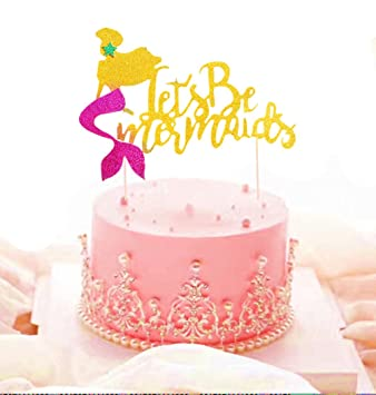JeVenis Glitter Pink Mermaid Cake Topper Happy Birthday Decoration For Baby Shower