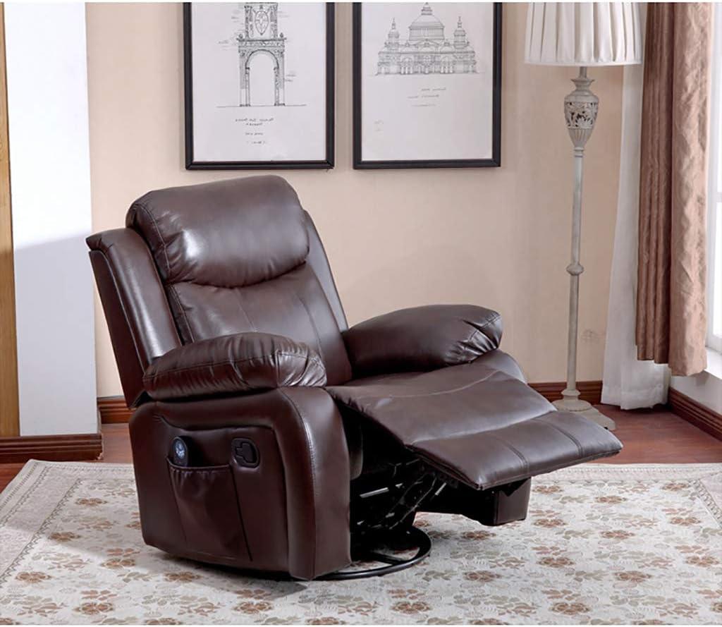 LIU Fauteuil inclinable en Cuir à Bascule Moderne avec Massage Salon Ergonomique pivotant à 360 degrés canapé Simple siège Salon Chaise Brun H