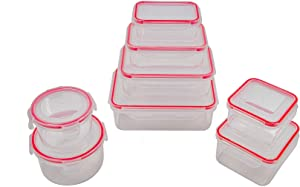 8pcs Food Storage Containers with Lids @ Airtight Leak Proof Easy Snap Lock and BPA-Free Plastic Container Set @ Plastic Food Containers with Lids @ Plastic Containers with Lids(Red)