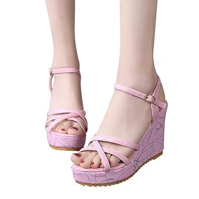 QinMM Damen Fisch Mund Rutschfeste Plattform High Heels Sandalen Schnalle Slope Sandalen Sommer Spring Fashion