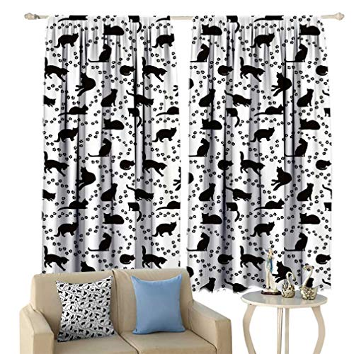 Lxldecor Cat Bedroom Blackout Curtain Cat Silhouette and Animal Tracks Pattern Paws Footprints Kitties Different Poses Customized Curtains Window Drapes 63'' x 45'' Black and White
