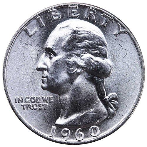 1960 D U.S. Washington Quarter 90% Silver Coin, 1/4 Brilliant Uncirculated Mint State Condition