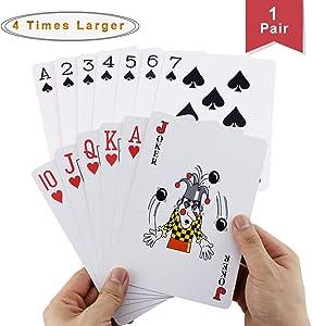Faxco 6.6'' x 4.6'' Large Poker,Four Times Large Poker,Jumbo Deck of Big Playing Cards Fun Full Poker