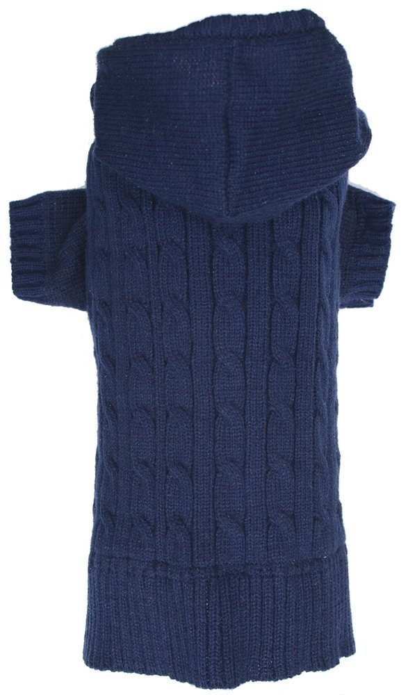 Navy Dog Classic Cable Pet Sweater Hoodie Coat for Dogs, X-Large (XL) Size