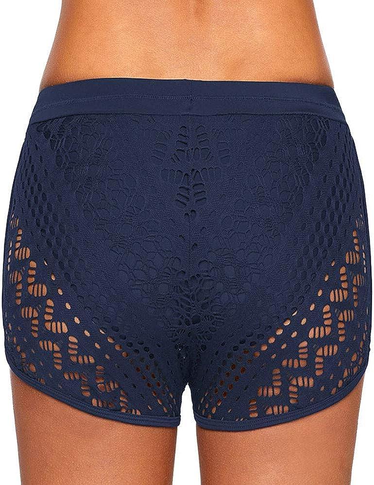 NPRADLA Femmes Dentelle Shorts De Bain Pantalon Plage Maillots De Bain Dames /Évider Solide Couleur Maillot De Bain Shorts