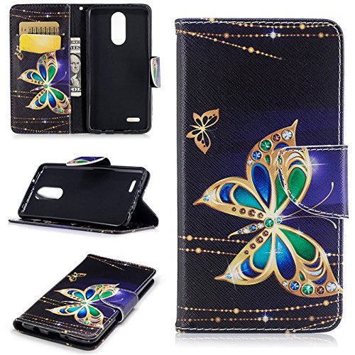 LG Aristo Case,LG Fortune Case,LG Phoenix 3 Case, Enjoy Sunlight Colorful [Big butterfly] [Stand Feature] Wallet Premium PU Leather Folio Wallet Case Cover Built-in Card Slots for LG K8 2017 (Phoenix Suns Phone Case Cellular)