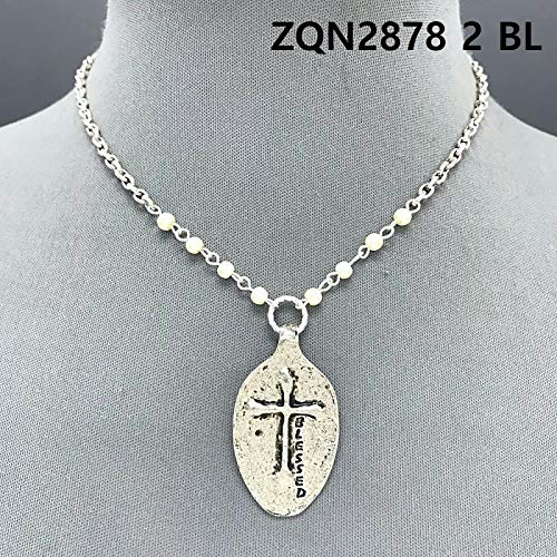 Silver Color Pearls Blessed Engraved Cross Embossed Spoon Shape Pendant Necklace - Pearl Cross Embossed