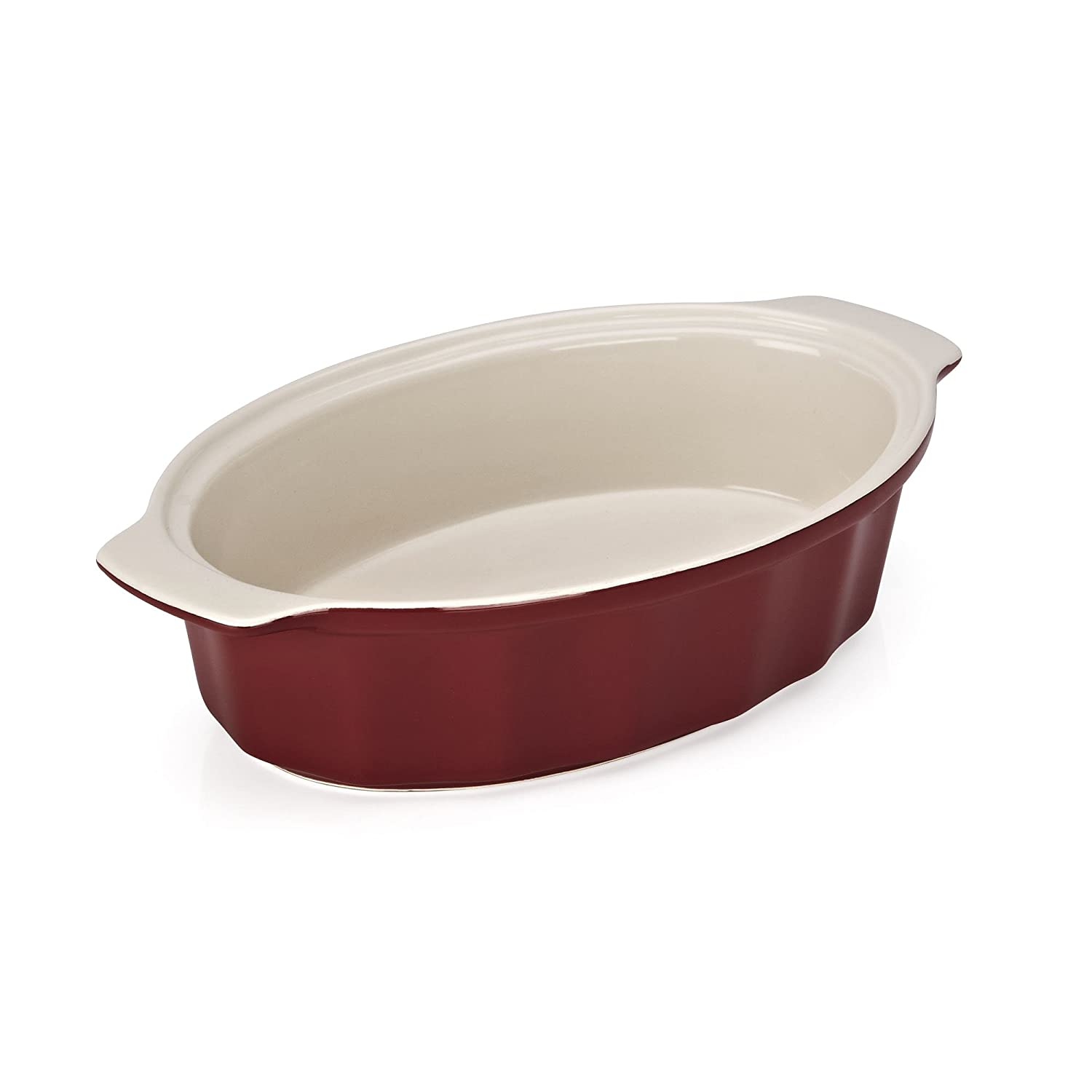 Good Cook 04489 OvenFresh Stoneware Ceramic Casserole Dish, 1.75 quart, Red