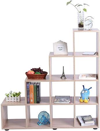Ejoyous - Estantería Multifuncional para estantería de Almacenamiento, 4 Niveles, Mueble de Almacenamiento, Escalera con 10 Compartimentos para Oficina, Sala de Estudio, Color Roble: Amazon.es: Hogar