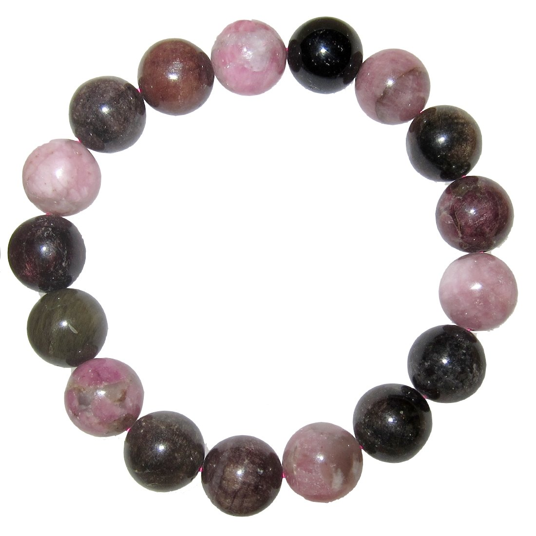 Tourmaline Bracelet Rainbow 12 Mm Gorgeous Natural Pink Black Green Gemstones Deluxe Big Beads (Gift Box) (6.75)