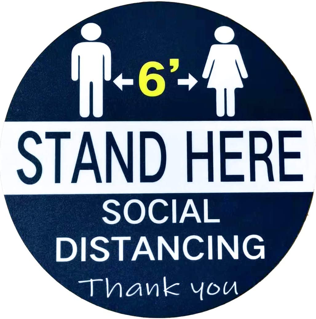 "Social Distancing Floor Decals Stickers, 10 Pack 12"" Stand Here Floor Decals, Reusable, Waterproof, Thickness and Anti-Slip, 6 Feet Distance Signs, Crowd Control Guidance for All Public Area (Blue)"