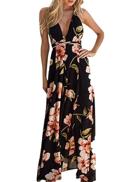 baf51c3e415daf Sommerkleid Beach Kleid Damen Boho Lange Kleid Partykleid Elegant Kleid  Cocktailkleid Maxi Kleid Abendkleid V Hals Strand Dress Sommerkleid LMMVP:  ...