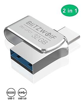 Memoria USB 32GB, BlitzWolf USB 3.0 +Tipo C Memoria Flash USB Pendrive Aluminio(Plateado)