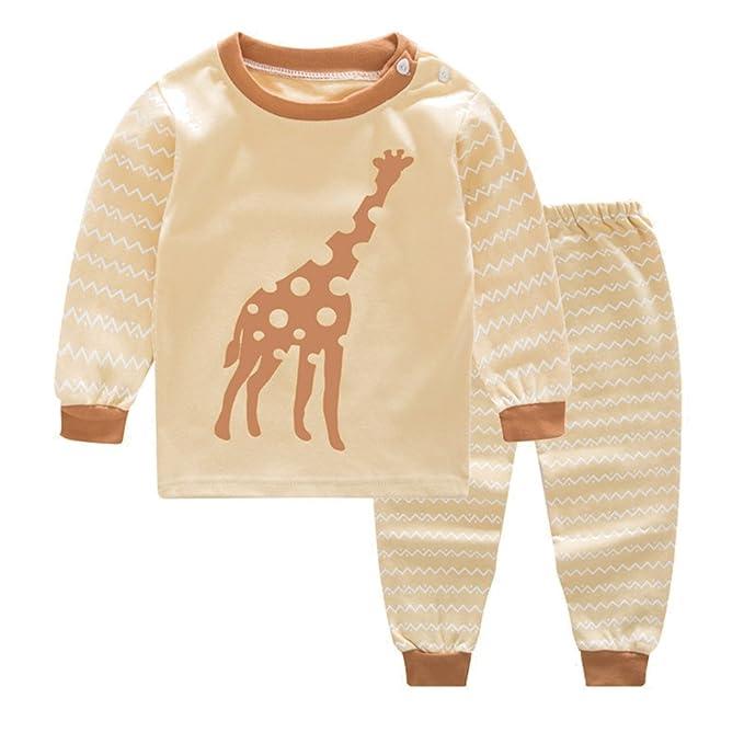 Recién Nacido Infantil Bebé Chico Niña Niñito Bebé Pijama Conjunto Baby Ropa Conjunto Dibujos Animados Impresión Algodón Casa Largo Manga Camiseta + ...