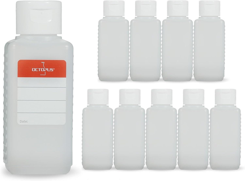 10 botellas de plástico de Octopus de 100 ml, botellas de plástico de HDPE con tapones abatibles blanco, botellas vacías con tapa abatible blanco, botellas rectangulares con 10 etiquetas para marcar
