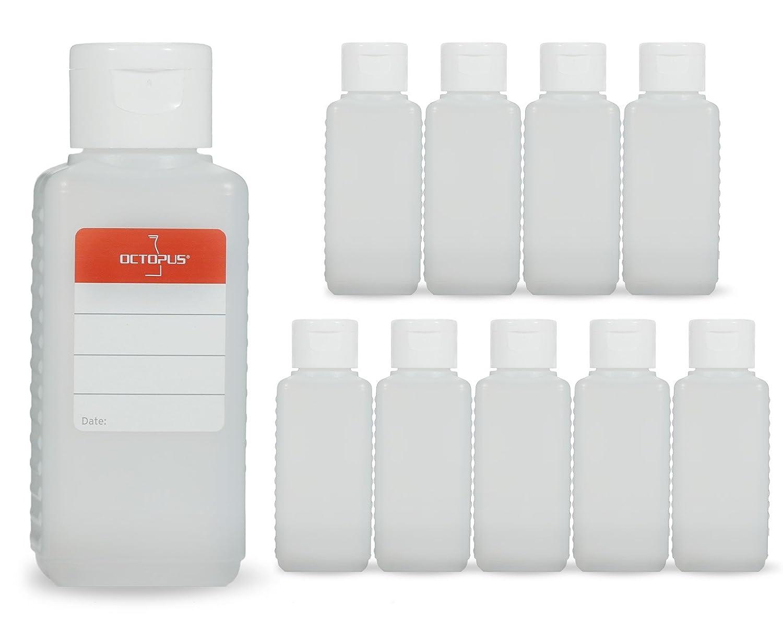 10 botellas de plástico de Octopus de 100 ml, botellas de plástico de HDPE con tapones abatibles blanco, botellas vacías con tapa abatible blanco, botellas rectangulares con 10 etiquetas para marcar Octopus Concept GmbH PLF100KVS2-W