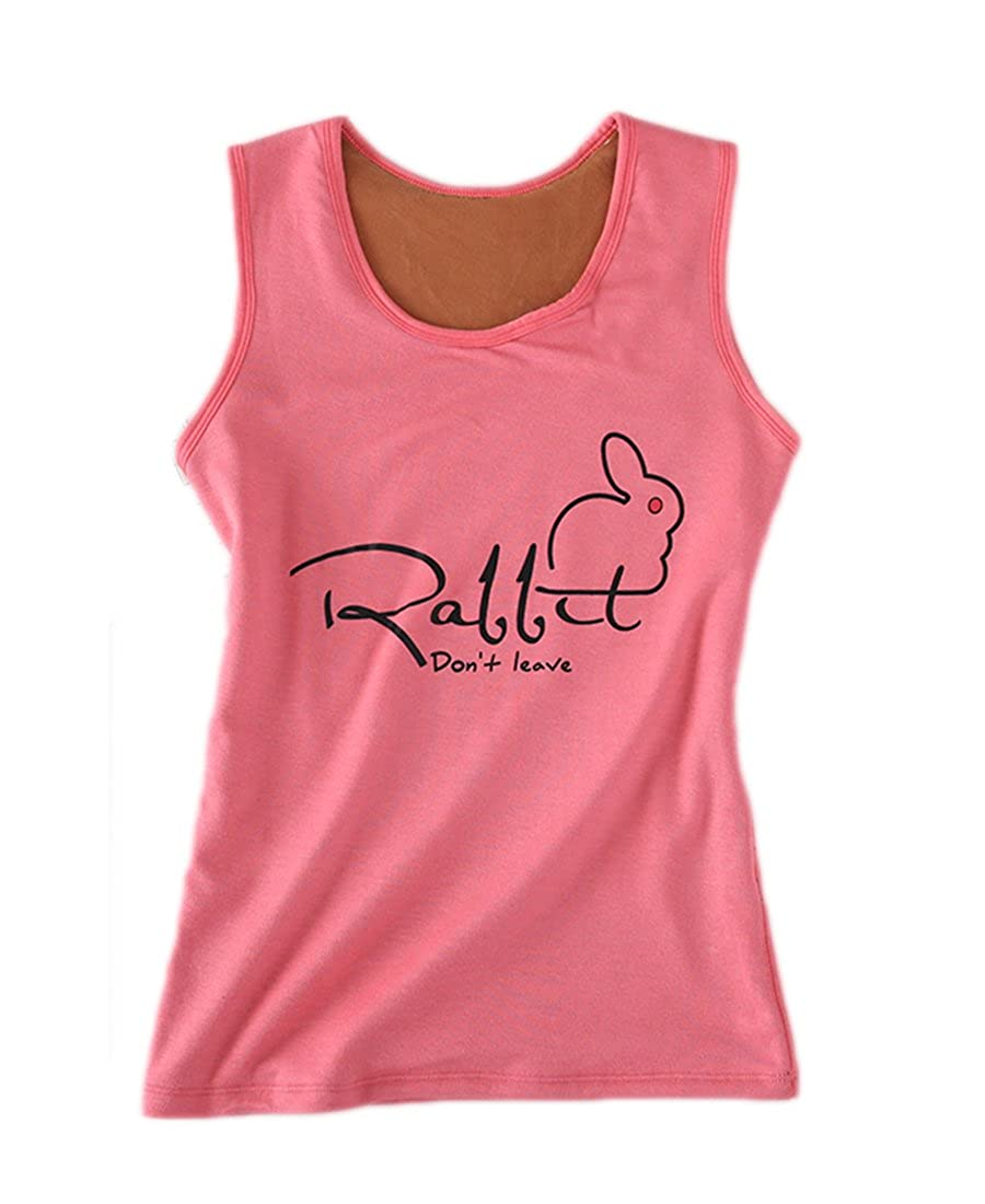 FOURSTEEDS Girls Cotton Basic Racer Back Rabbits Carrots Print Thermal Underwear Top