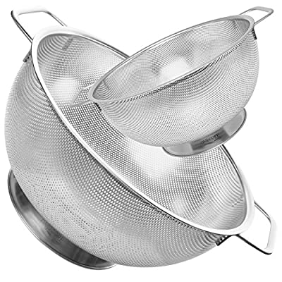 Stainless Steel Strainer Spaghetti Rice Pasta Colander | Micro Mesh 5 & 1.5 Quart Fruit and Vegetable Washing Bowls | By OMECORE (Set of 2)